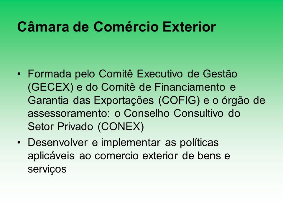 Câmara de Comércio Exterior Formada pelo Comitê Executivo de Gestão (GECEX) e do Comitê de Financiamento e Garantia das Exportações (COFIG) e o órgão
