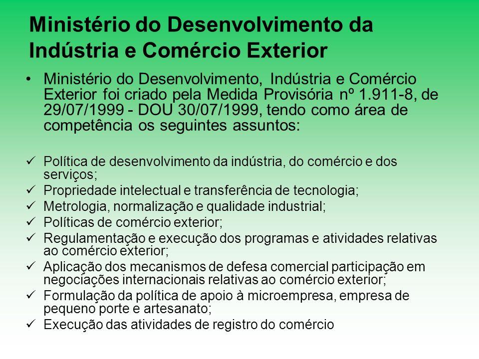 Ministério do Desenvolvimento da Indústria e Comércio Exterior Ministério do Desenvolvimento, Indústria e Comércio Exterior foi criado pela Medida Pro