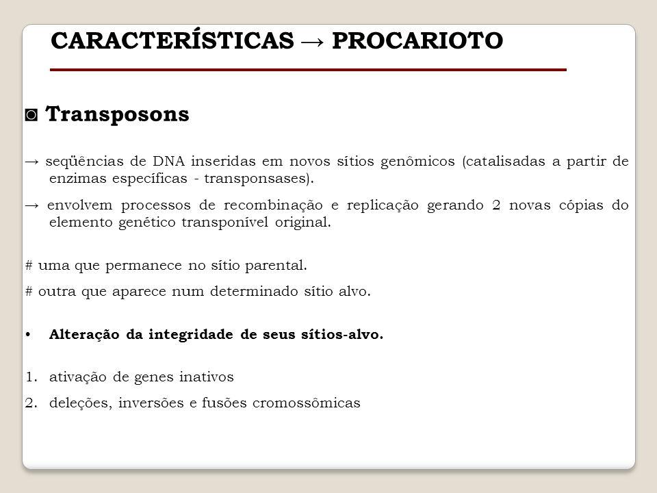 Transposons seqüências de DNA inseridas em novos sítios genômicos (catalisadas a partir de enzimas específicas - transponsases). envolvem processos de