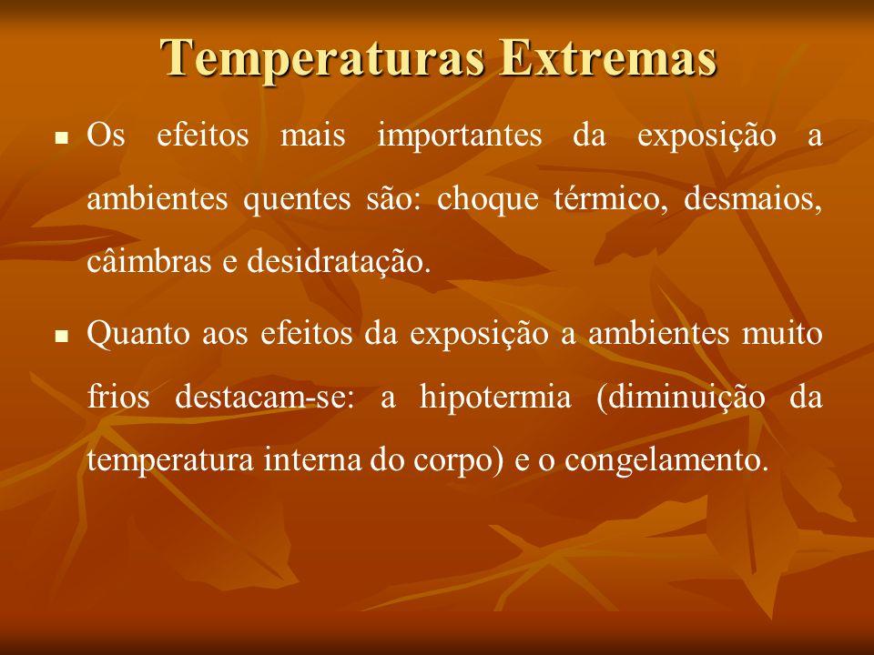 Temperaturas Extremas Os efeitos mais importantes da exposição a ambientes quentes são: choque térmico, desmaios, câimbras e desidratação. Quanto aos
