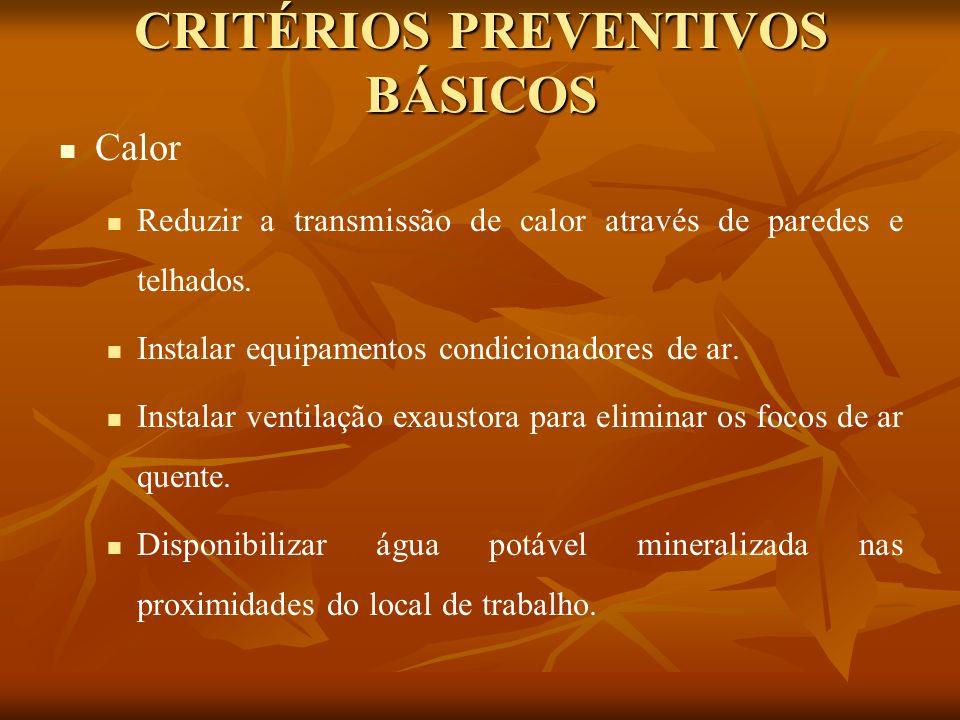 CRITÉRIOS PREVENTIVOS BÁSICOS Calor Reduzir a transmissão de calor através de paredes e telhados. Instalar equipamentos condicionadores de ar. Instala