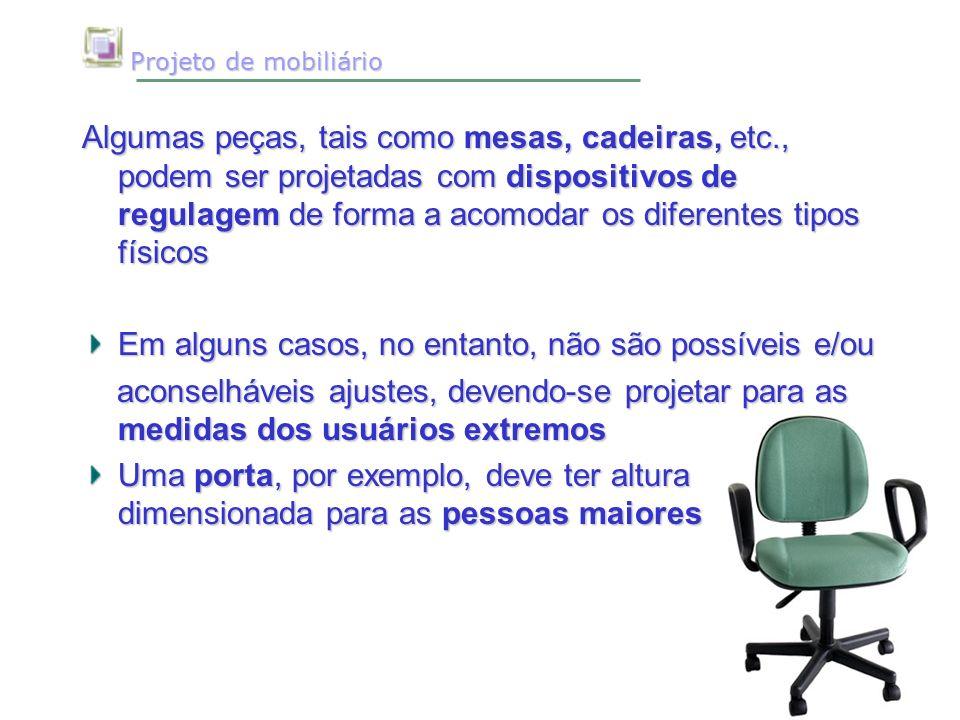 Projeto de mobiliário Projeto de mobiliário Algumas peças, tais como mesas, cadeiras, etc., podem ser projetadas com dispositivos de regulagem de form