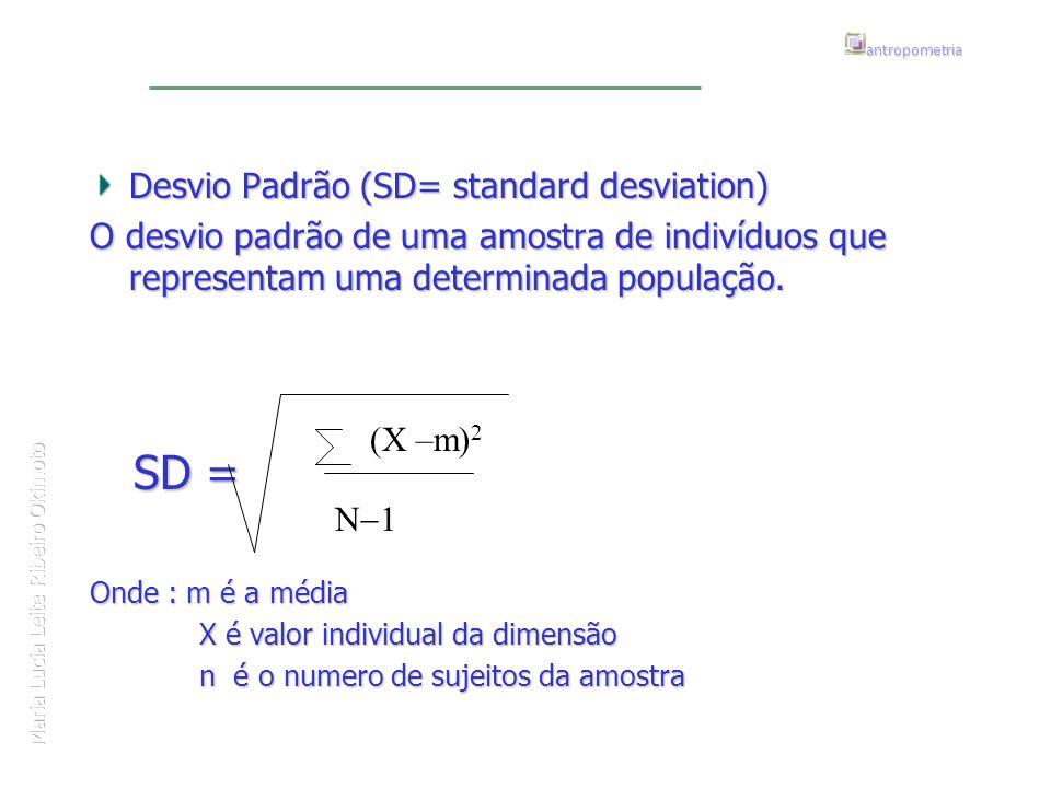 Maria Lucia Leite Ribeiro Okimoto antropometria Desvio Padrão (SD= standard desviation) O desvio padrão de uma amostra de indivíduos que representam u