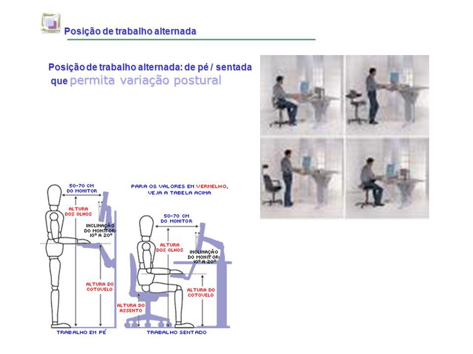 Posição de trabalho alternada Posição de trabalho alternada Posição de trabalho alternada: de pé / sentada que permita variação postural