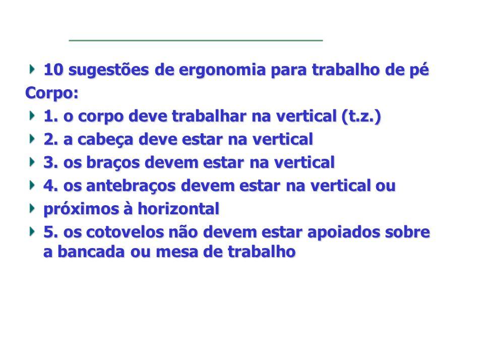 10 sugestões de ergonomia para trabalho de pé Corpo: 1. o corpo deve trabalhar na vertical (t.z.) 2. a cabeça deve estar na vertical 3. os braços deve