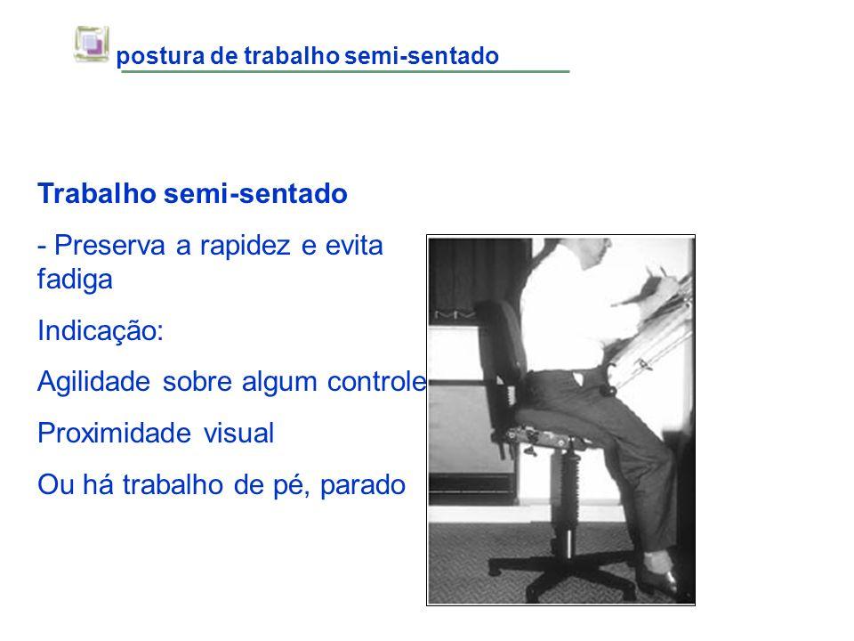 postura de trabalho semi-sentado Trabalho semi-sentado - Preserva a rapidez e evita fadiga Indicação: Agilidade sobre algum controle Proximidade visua