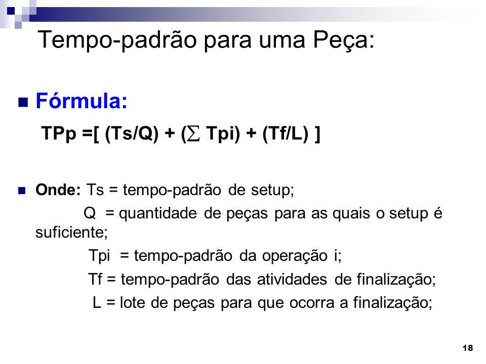 18 Tempo-padrão para uma Peça: Fórmula: TPp =[ (Ts/Q) + ( Tpi) + (Tf/L) ] Onde: Ts = tempo-padrão de setup; Q = quantidade de peças para as quais o se