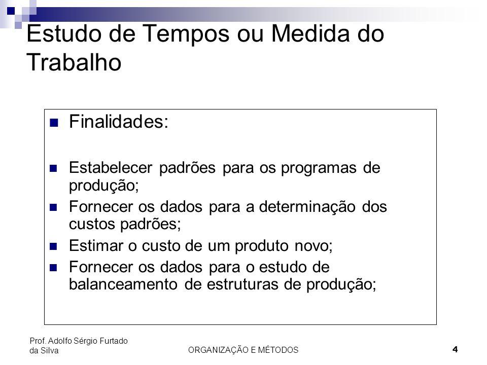 ORGANIZAÇÃO E MÉTODOS 4 Prof. Adolfo Sérgio Furtado da Silva Estudo de Tempos ou Medida do Trabalho Finalidades: Estabelecer padrões para os programas
