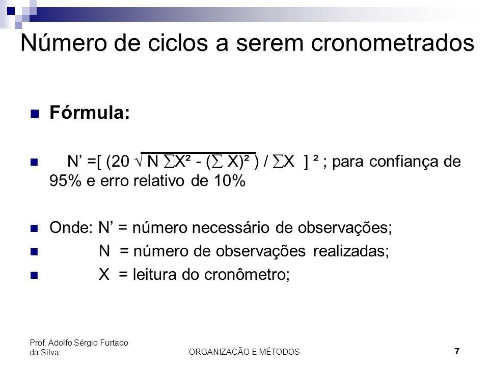 ORGANIZAÇÃO E MÉTODOS 7 Prof. Adolfo Sérgio Furtado da Silva Número de ciclos a serem cronometrados Fórmula: N =[ (20 N X² - ( X)² ) / X ] ² ; para co