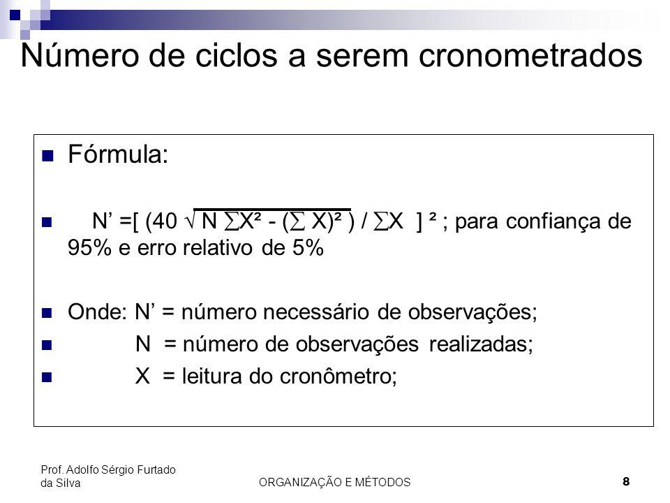 ORGANIZAÇÃO E MÉTODOS 8 Prof. Adolfo Sérgio Furtado da Silva Número de ciclos a serem cronometrados Fórmula: N =[ (40 N X² - ( X)² ) / X ] ² ; para co