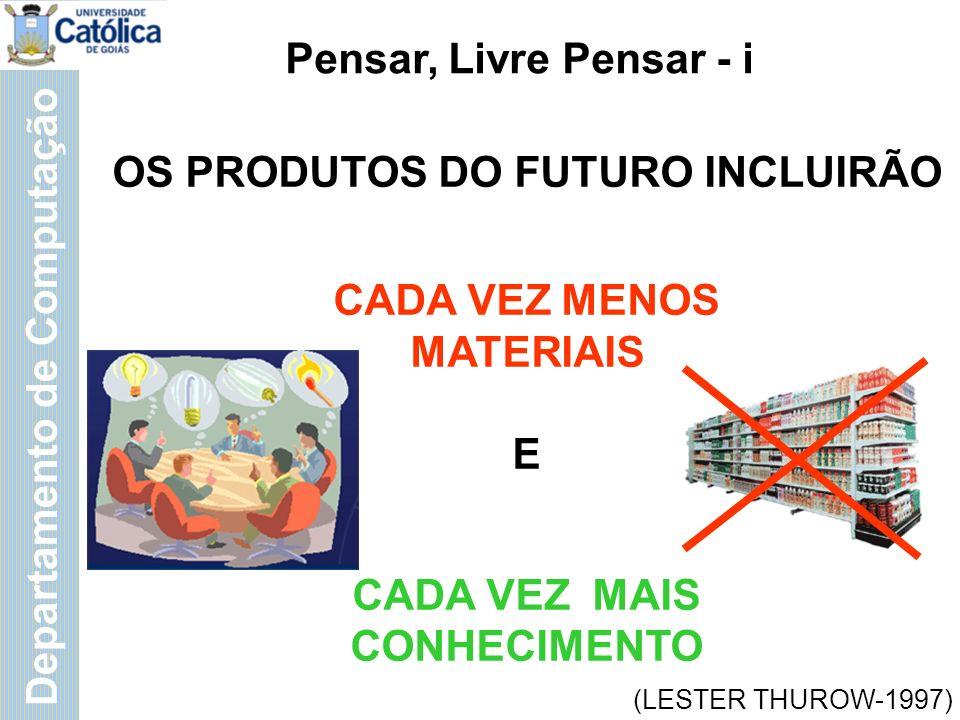 Departamento de Computação OS PRODUTOS DO FUTURO INCLUIRÃO CADA VEZ MENOS MATERIAIS E CADA VEZ MAIS CONHECIMENTO Pensar, Livre Pensar - i (LESTER THUROW-1997)