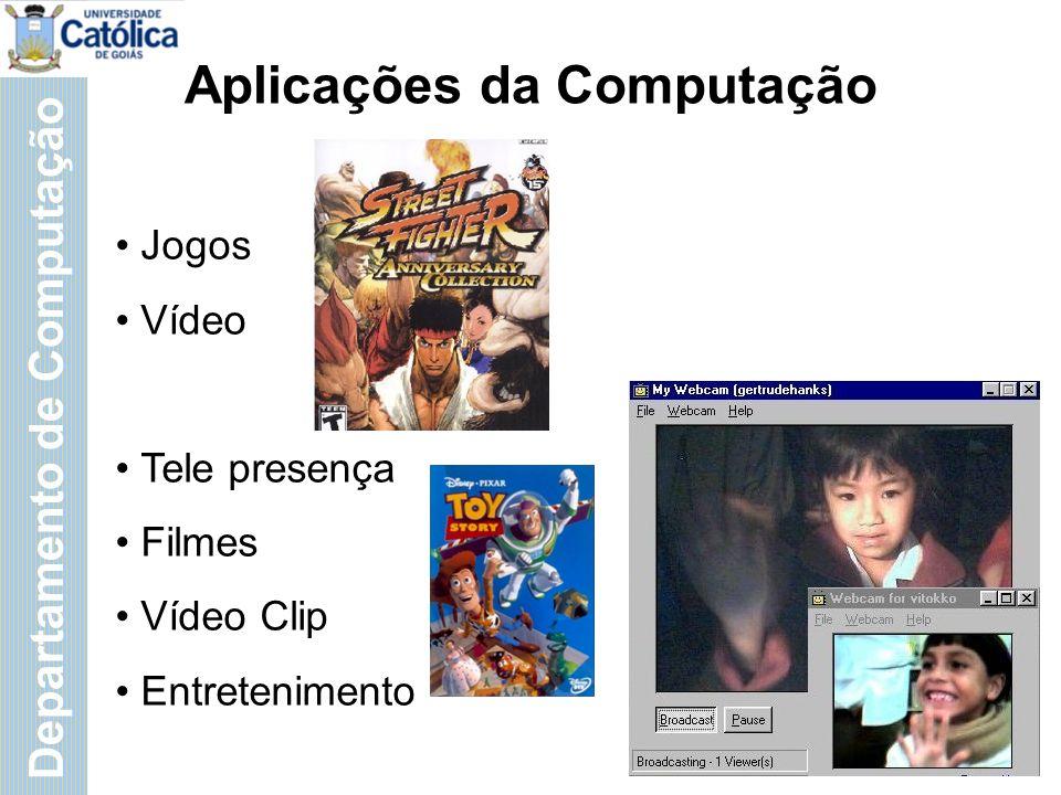 Departamento de Computação Aplicações da Computação Jogos Vídeo Tele presença Filmes Vídeo Clip Entretenimento