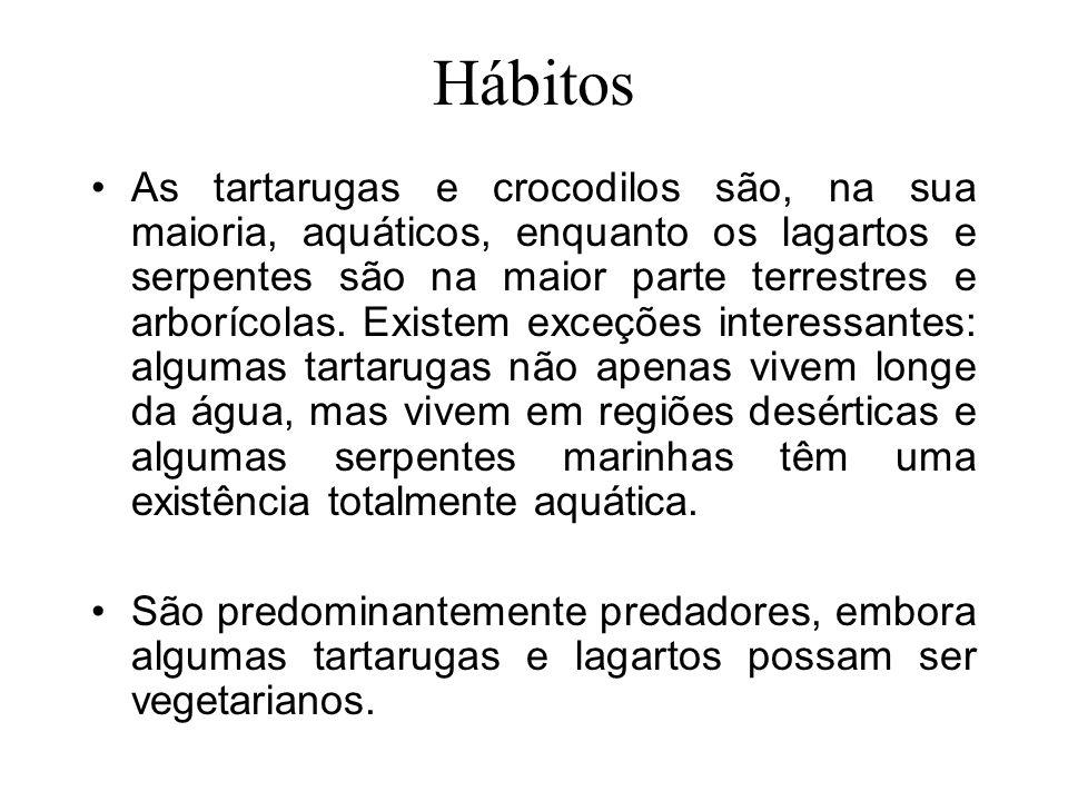 Hábitos As tartarugas e crocodilos são, na sua maioria, aquáticos, enquanto os lagartos e serpentes são na maior parte terrestres e arborícolas.