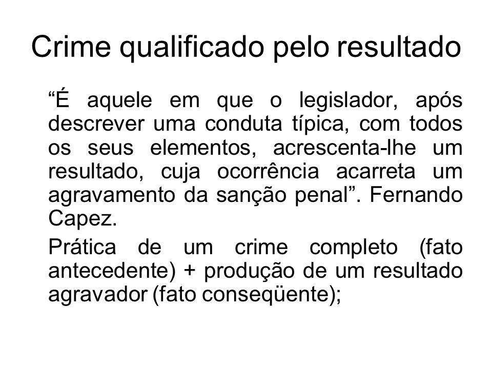 Crime qualificado pelo resultado É aquele em que o legislador, após descrever uma conduta típica, com todos os seus elementos, acrescenta-lhe um resul