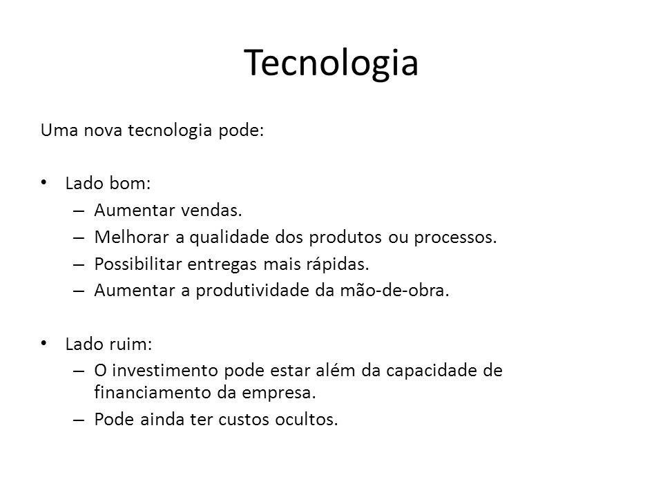 Tecnologia Uma nova tecnologia pode: Lado bom: – Aumentar vendas.