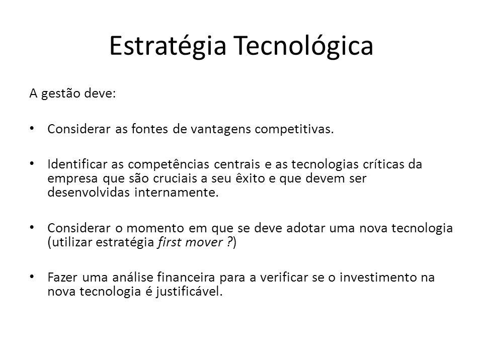 Estratégia Tecnológica A gestão deve: Considerar as fontes de vantagens competitivas.