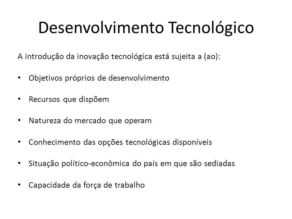 Desenvolvimento Tecnológico A introdução da inovação tecnológica está sujeita a (ao): Objetivos próprios de desenvolvimento Recursos que dispõem Natureza do mercado que operam Conhecimento das opções tecnológicas disponíveis Situação político-econômica do país em que são sediadas Capacidade da força de trabalho