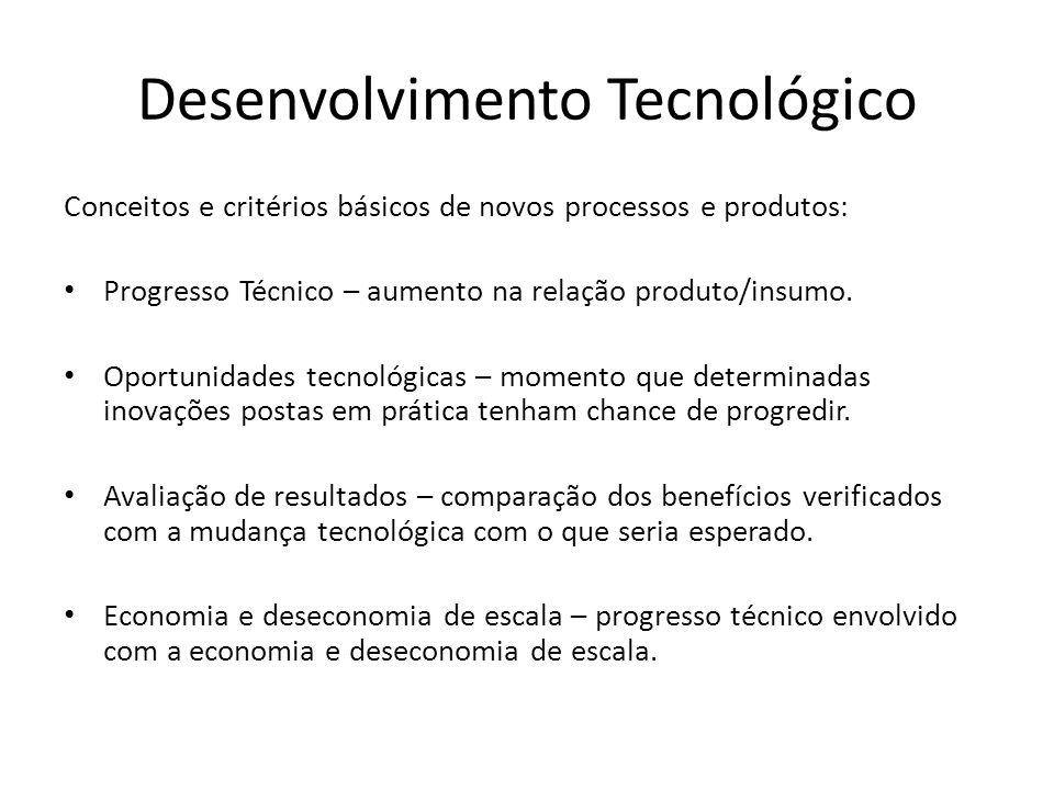 Desenvolvimento Tecnológico Conceitos e critérios básicos de novos processos e produtos: Progresso Técnico – aumento na relação produto/insumo.