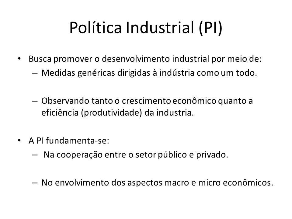 Política Industrial (PI) Busca promover o desenvolvimento industrial por meio de: – Medidas genéricas dirigidas à indústria como um todo.