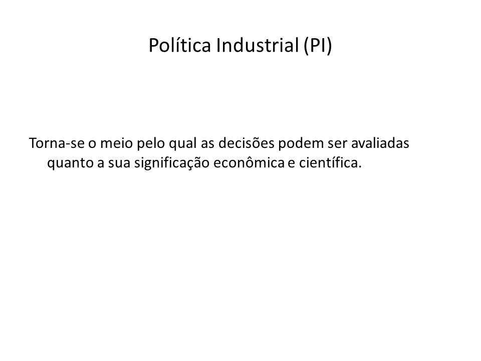 Política Industrial (PI) Torna-se o meio pelo qual as decisões podem ser avaliadas quanto a sua significação econômica e científica.