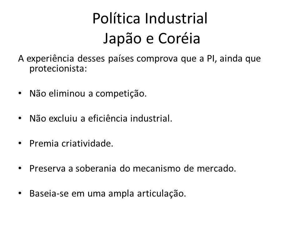 Política Industrial Japão e Coréia A experiência desses países comprova que a PI, ainda que protecionista: Não eliminou a competição.