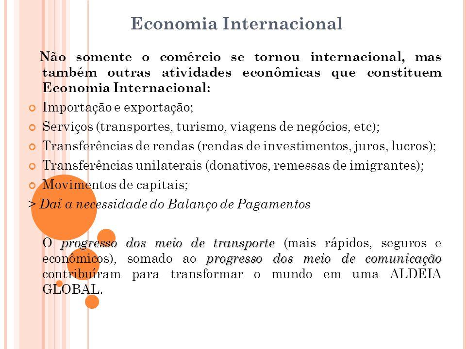 Economia Internacional Não somente o comércio se tornou internacional, mas também outras atividades econômicas que constituem Economia Internacional: