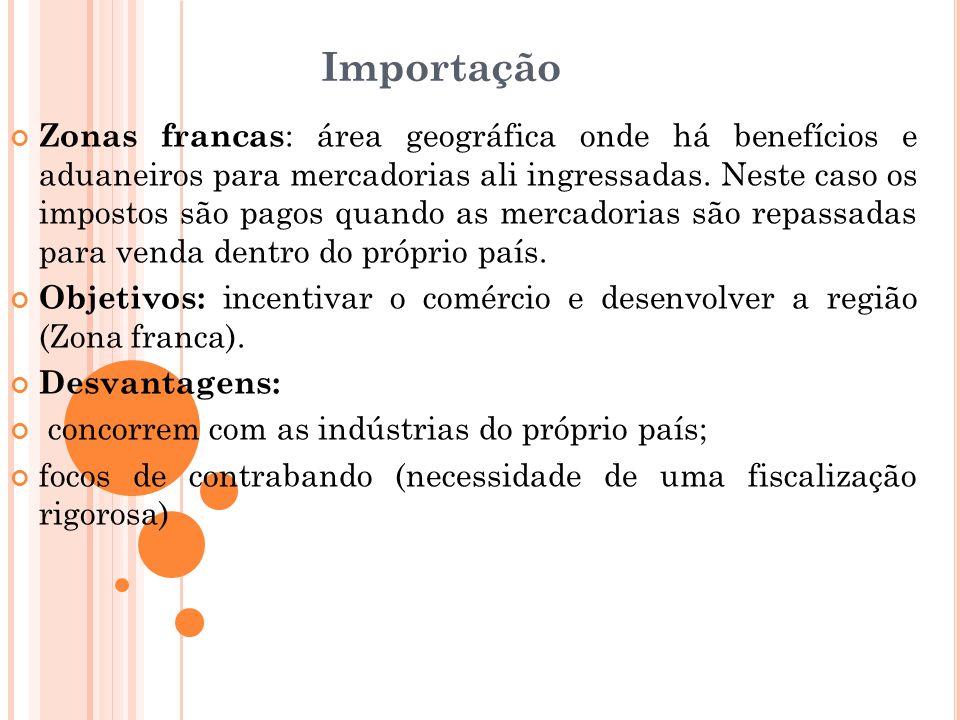 Importação Zonas francas : área geográfica onde há benefícios e aduaneiros para mercadorias ali ingressadas. Neste caso os impostos são pagos quando a