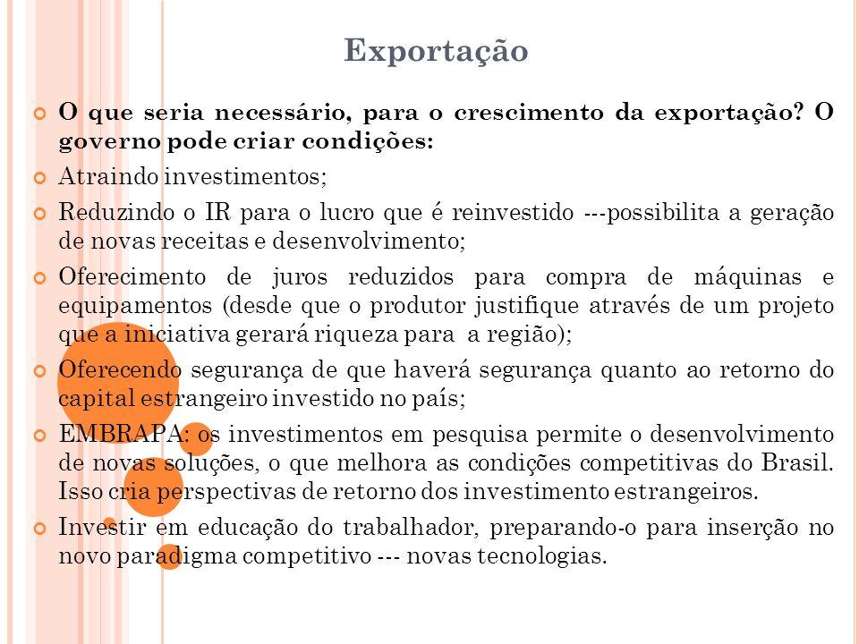 Exportação O que seria necessário, para o crescimento da exportação? O governo pode criar condições: Atraindo investimentos; Reduzindo o IR para o luc