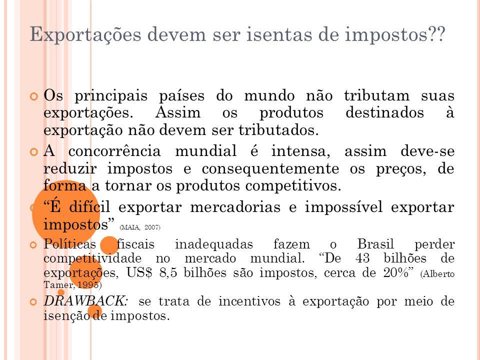 Exportações devem ser isentas de impostos?? Os principais países do mundo não tributam suas exportações. Assim os produtos destinados à exportação não