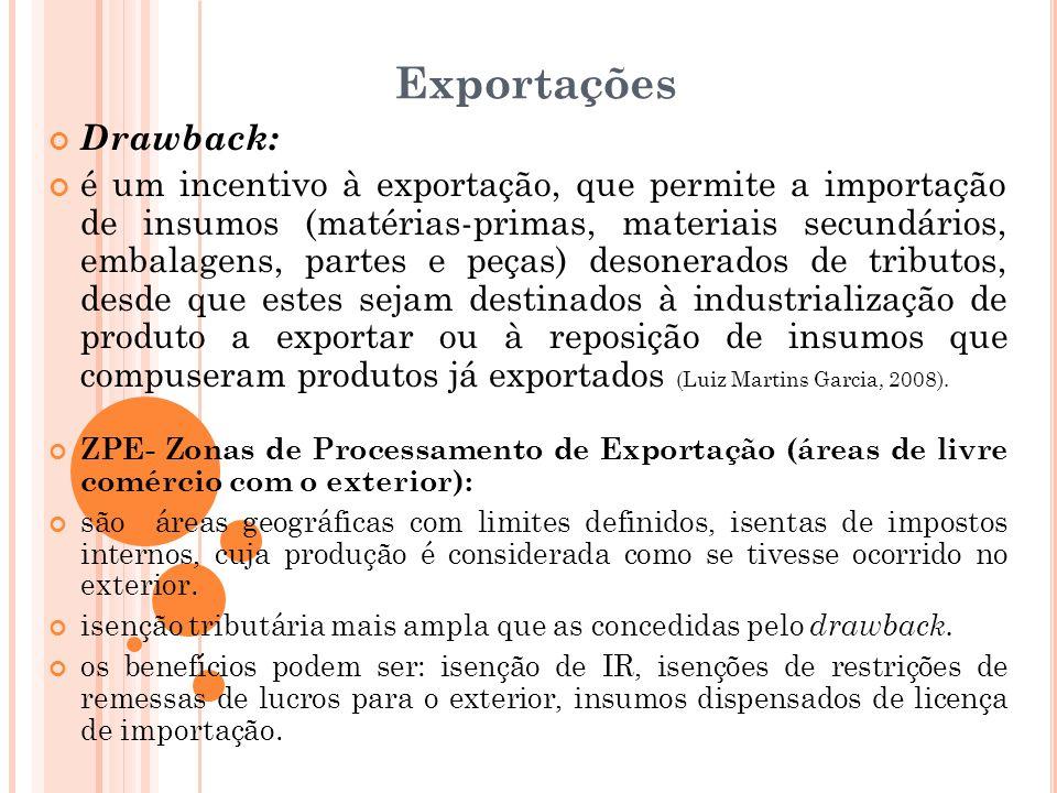 Exportações Drawback: é um incentivo à exportação, que permite a importação de insumos (matérias-primas, materiais secundários, embalagens, partes e p