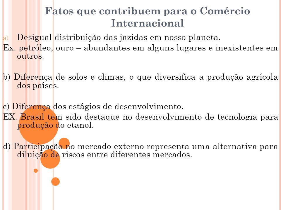 Fatos que contribuem para o Comércio Internacional a) Desigual distribuição das jazidas em nosso planeta. Ex. petróleo, ouro – abundantes em alguns lu