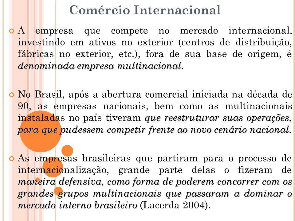 Comércio Internacional denominada empresa multinacional. A empresa que compete no mercado internacional, investindo em ativos no exterior (centros de