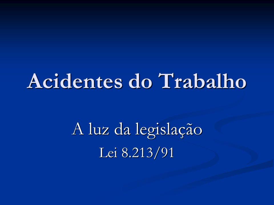 Acidentes do Trabalho A luz da legislação Lei 8.213/91