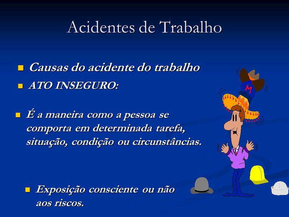 Acidentes de Trabalho Causas do acidente do trabalho Causas do acidente do trabalho ATO INSEGURO: ATO INSEGURO: Exposição consciente ou não aos riscos