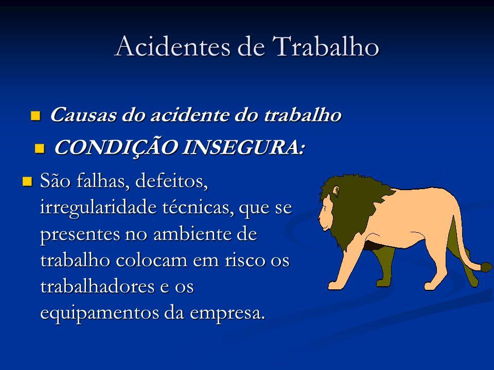 Acidentes de Trabalho Causas do acidente do trabalho Causas do acidente do trabalho CONDIÇÃO INSEGURA: CONDIÇÃO INSEGURA: São falhas, defeitos, irregu