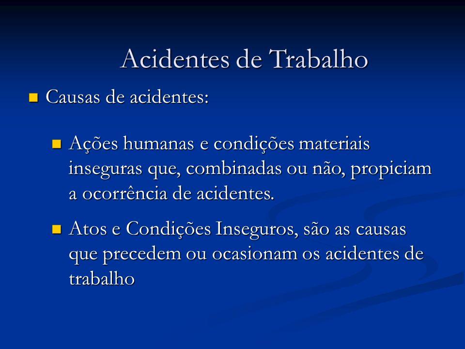Causas de acidentes: Causas de acidentes: Acidentes de Trabalho Ações humanas e condições materiais inseguras que, combinadas ou não, propiciam a ocor