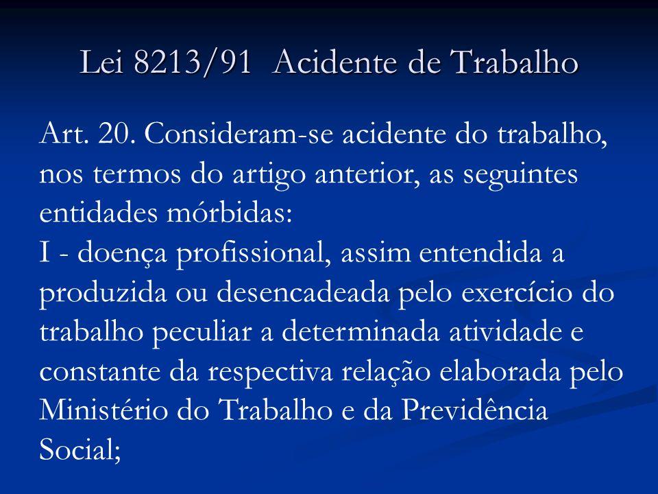 Lei 8213/91 Acidente de Trabalho Art.20.