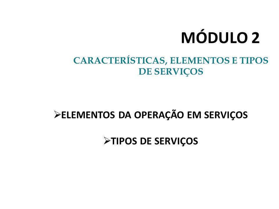 MÓDULO 2 CARACTERÍSTICAS, ELEMENTOS E TIPOS DE SERVIÇOS ELEMENTOS DA OPERAÇÃO EM SERVIÇOS TIPOS DE SERVIÇOS
