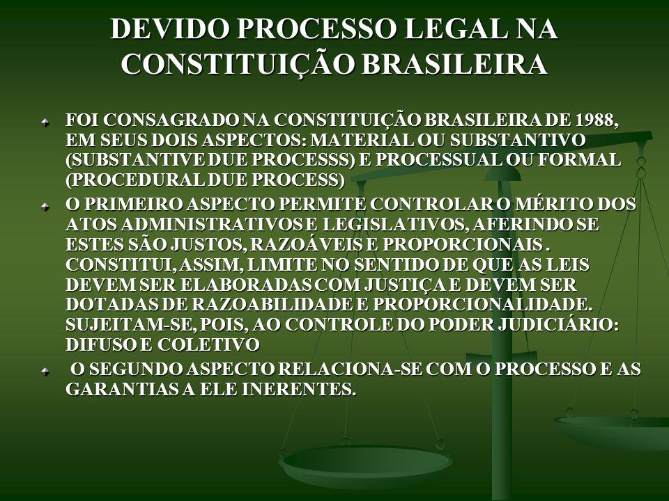 DEVIDO PROCESSO LEGAL NA CONSTITUIÇÃO BRASILEIRA FOI CONSAGRADO NA CONSTITUIÇÃO BRASILEIRA DE 1988, EM SEUS DOIS ASPECTOS: MATERIAL OU SUBSTANTIVO (SU