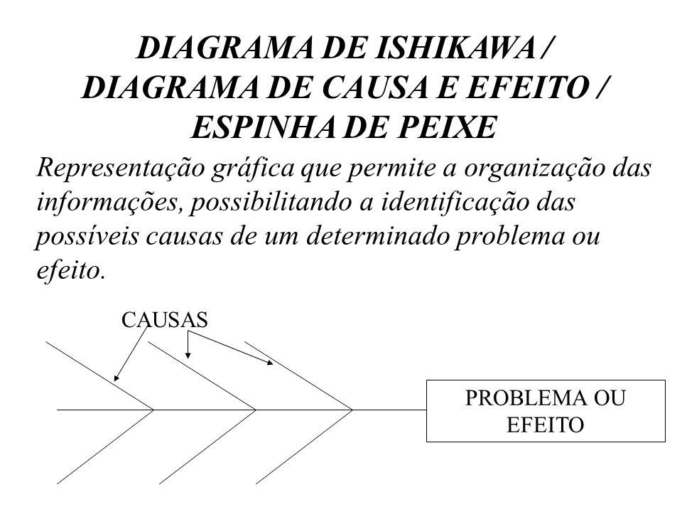 Representação gráfica que permite a organização das informações, possibilitando a identificação das possíveis causas de um determinado problema ou efe