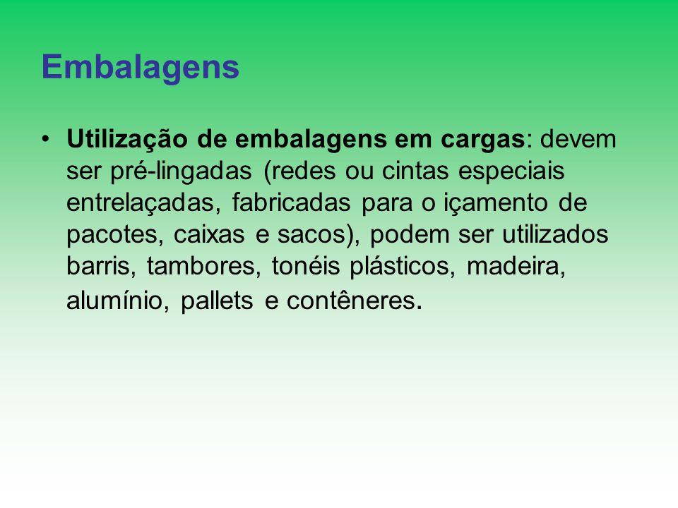 Embalagens Utilização de embalagens em cargas: devem ser pré-lingadas (redes ou cintas especiais entrelaçadas, fabricadas para o içamento de pacotes,