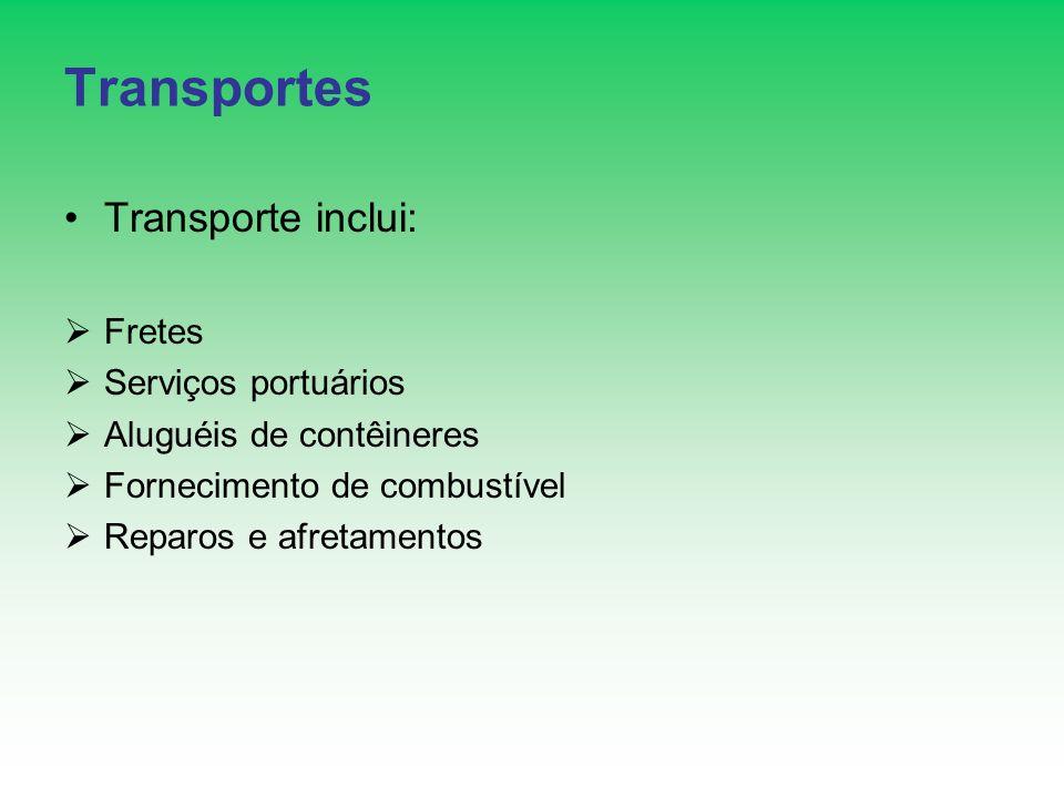 Transportes Transporte inclui: Fretes Serviços portuários Aluguéis de contêineres Fornecimento de combustível Reparos e afretamentos