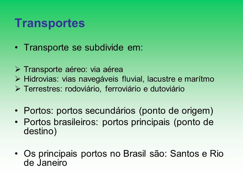 Transportes Formas: Unimodal: uma modalidade de transporte Intermodal: mais de uma modalidade de transporte numa mesma operação, onde cada empresa individualmente é responsável pelo serviço prestado Multimodal: regido por um único contrato, utiliza mais de duas modalidade de transporte