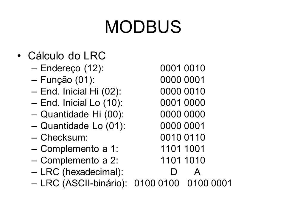 MODBUS Cálculo do LRC –Endereço (12):0001 0010 –Função (01):0000 0001 –End.