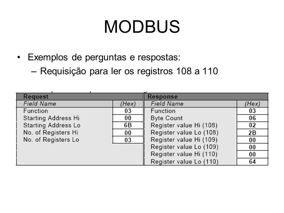 MODBUS Exemplos de perguntas e respostas: –Requisição para ler os registros 108 a 110