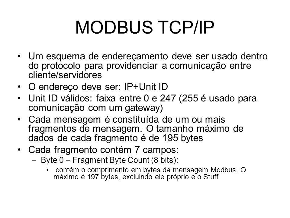 MODBUS TCP/IP Um esquema de endereçamento deve ser usado dentro do protocolo para providenciar a comunicação entre cliente/servidores O endereço deve ser: IP+Unit ID Unit ID válidos: faixa entre 0 e 247 (255 é usado para comunicação com um gateway) Cada mensagem é constituída de um ou mais fragmentos de mensagem.