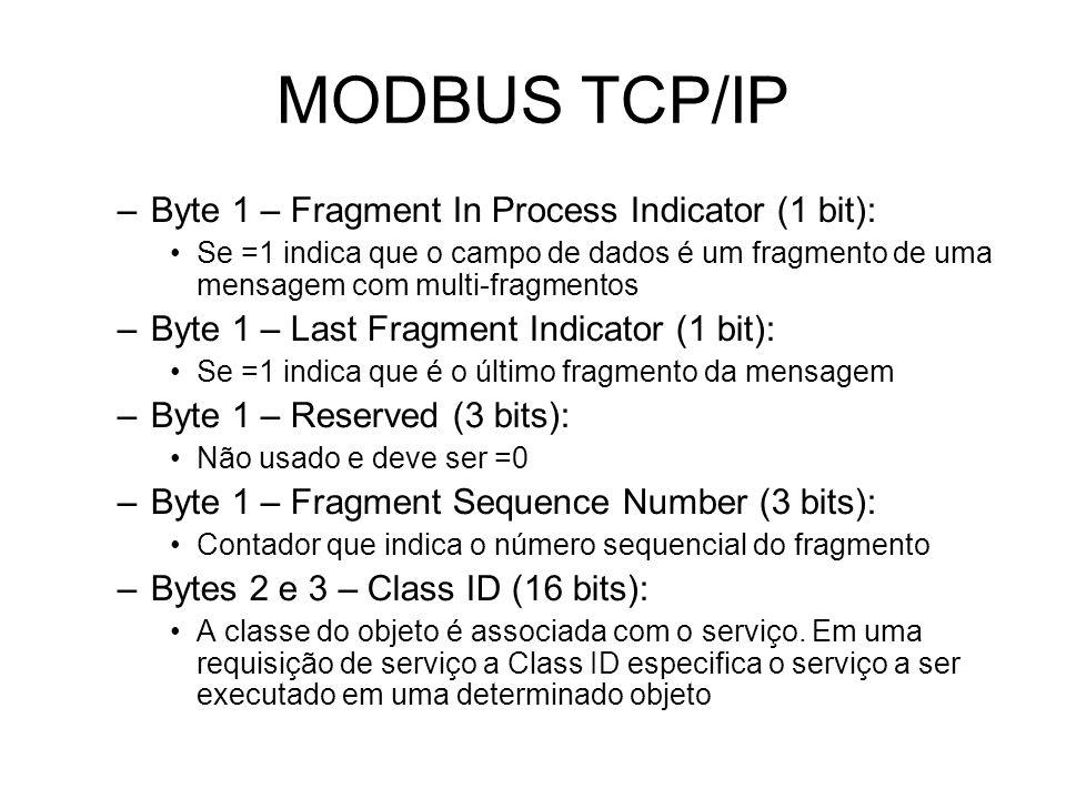 MODBUS TCP/IP –Byte 1 – Fragment In Process Indicator (1 bit): Se =1 indica que o campo de dados é um fragmento de uma mensagem com multi-fragmentos –Byte 1 – Last Fragment Indicator (1 bit): Se =1 indica que é o último fragmento da mensagem –Byte 1 – Reserved (3 bits): Não usado e deve ser =0 –Byte 1 – Fragment Sequence Number (3 bits): Contador que indica o número sequencial do fragmento –Bytes 2 e 3 – Class ID (16 bits): A classe do objeto é associada com o serviço.
