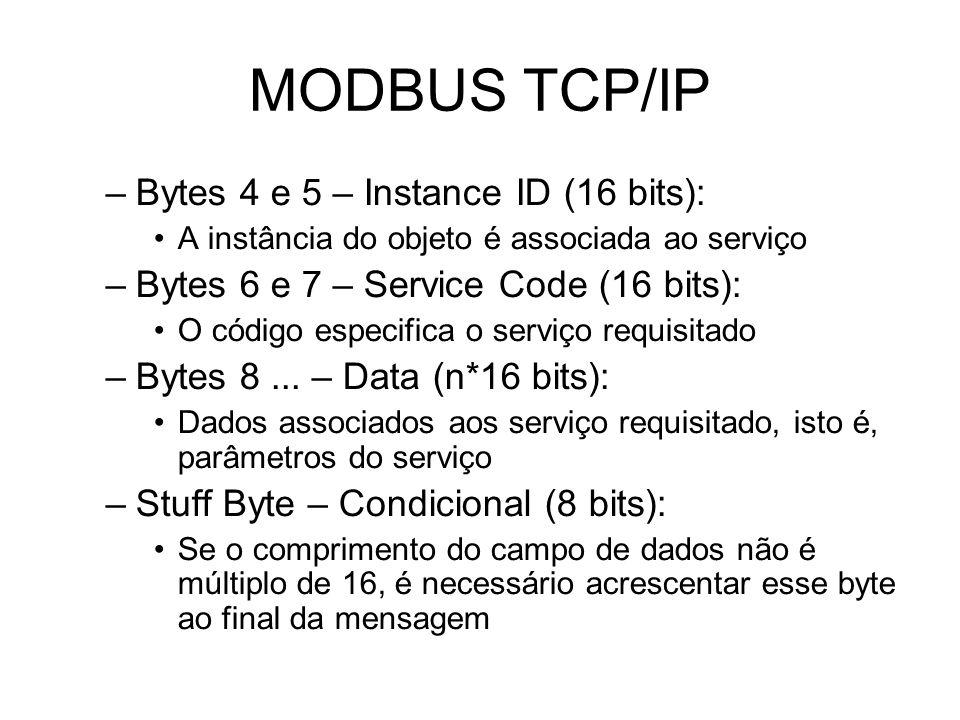 MODBUS TCP/IP –Bytes 4 e 5 – Instance ID (16 bits): A instância do objeto é associada ao serviço –Bytes 6 e 7 – Service Code (16 bits): O código especifica o serviço requisitado –Bytes 8...