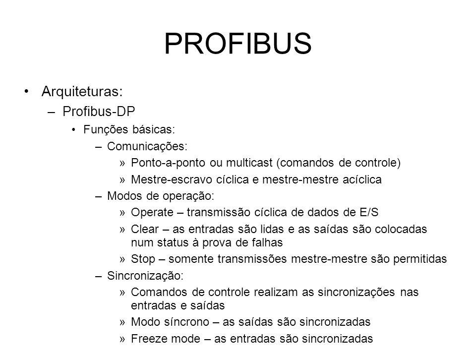 PROFIBUS Arquiteturas: –Profibus-DP Funções básicas: –Comunicações: »Ponto-a-ponto ou multicast (comandos de controle) »Mestre-escravo cíclica e mestre-mestre acíclica –Modos de operação: »Operate – transmissão cíclica de dados de E/S »Clear – as entradas são lidas e as saídas são colocadas num status à prova de falhas »Stop – somente transmissões mestre-mestre são permitidas –Sincronização: »Comandos de controle realizam as sincronizações nas entradas e saídas »Modo síncrono – as saídas são sincronizadas »Freeze mode – as entradas são sincronizadas