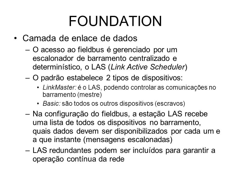 FOUNDATION Camada de enlace de dados –O acesso ao fieldbus é gerenciado por um escalonador de barramento centralizado e determinístico, o LAS (Link Active Scheduler) –O padrão estabelece 2 tipos de dispositivos: LinkMaster: é o LAS, podendo controlar as comunicações no barramento (mestre) Basic: são todos os outros dispositivos (escravos) –Na configuração do fieldbus, a estação LAS recebe uma lista de todos os dispositivos no barramento, quais dados devem ser disponibilizados por cada um e a que instante (mensagens escalonadas) –LAS redundantes podem ser incluídos para garantir a operação contínua da rede